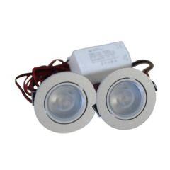 LED Set van 2 Inbouwspots - 4W - RVS - Dimbaar - Gratis Trafo | MP020011C QUALEDY®