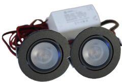 LED Set van 2 Inbouwspot - 4W - Zwart - Dimbaar - Gratis Trafo