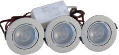 LED Set van 3 Inbouwspots - 4W - RVS - Dimbaar - Gratis Trafo | MP020012C QUALEDY®