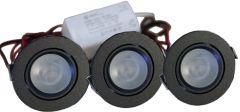 LED Set van 3 Inbouwspot - 4W - Zwart - Dimbaar - Gratis Trafo