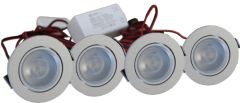 LED Set van 4 Inbouwspot - 4W - RVS - Dimbaar - Gratis Trafo | MP020013C QUALEDY®  201-300 Lm