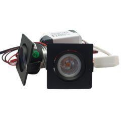 LED Set van 2 Inbouwspots - 4W - Zwart - Vierkant - Dimbaar - Gratis Trafo