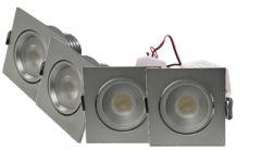 LED Set 4-Inbouwspots - 4W - RVS - Vierkant - Dimbaar - Gratis Trafo | MP020017C QUALEDY®  201-300 Lm