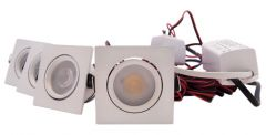 LED Set 4-Inbouwspots - 4W - Wit - Vierkant - Dimbaar - Gratis Trafo | MP020017W QUALEDY®  201-300 Lm
