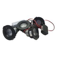 LED Set van 4 Inbouwspots - 4,5W - Zwart - Dim - Ø62mm - Gratis Trafo | MP020053Z QUALEDY®  201-300 Lm