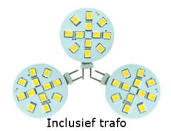LED Set van 3 G4 2,0W (20W halogeen-vervanger) incl. trafo