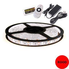 LED Strip 12V - Rood - 9,6W/m - 600 SMD3528 - 5 meter - IP65 - Set | MP210127B QUALEDY®  201-300 Lm