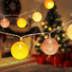 LED Lichtsnoer met 10 katoenen ballen - 2m - Warm wit - IP44