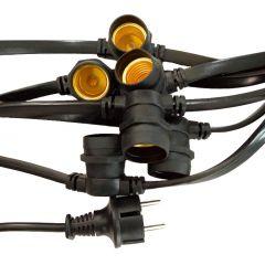 LED Feest-lichtsnoer/prikkabel - 10 meter met 20x E27 fitting