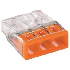 WAGO Lasklem 3x0,5-2,5mm² Cu - Oranje - Massieve draden