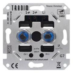 Duo inbouwdimmer (voor led- en laagvoltagelampen-faseafnsnijding) - 1-100W | MP990116 Tradim®