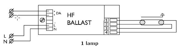 Elektronische ballast 1 lamp