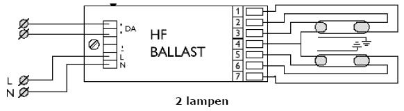 Elektronische ballast 2 lampen